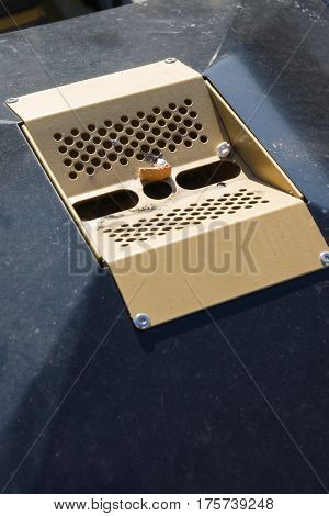 Cigarette stub and chewing gum in an outdoor garbage or rubbish bin receptacle