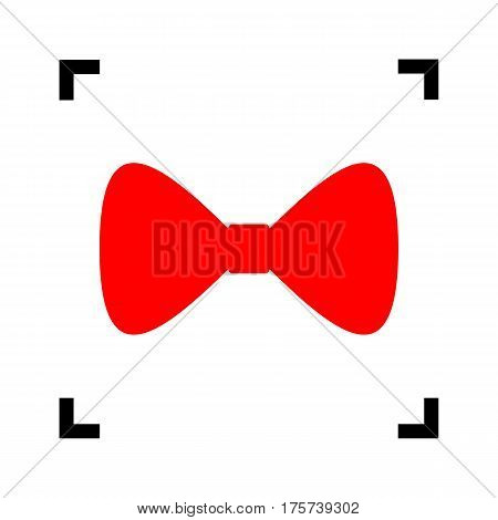 Bow Tie icon. Vector. Red icon inside black focus corners on white background. Isolated.