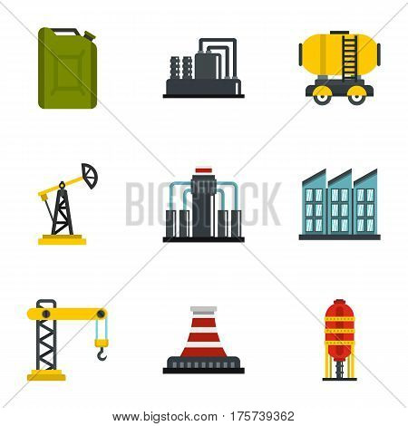 Oil And Energy Resources icons set. Flat illustration of 9 vector icons for web