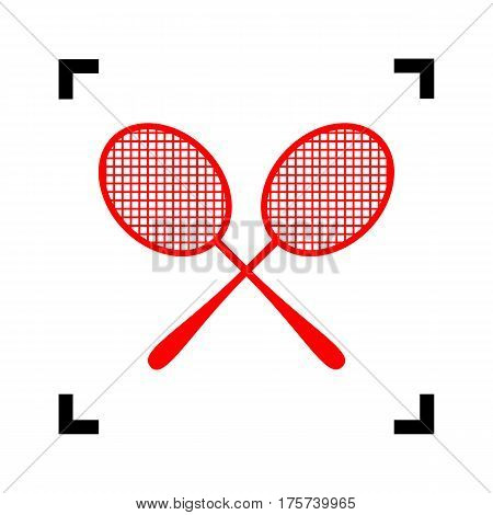 Tennis racquets sign. Vector. Red icon inside black focus corners on white background. Isolated.