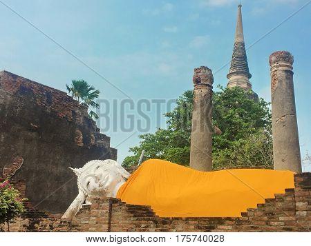 Reclining Buddha in Wat Yai Chaimongkol Ayutthaya Thailand.