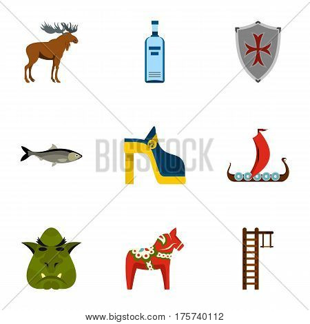 Welcome to Sweden icons set. Flat illustration of 9 welcome to Sweden vector icons for web