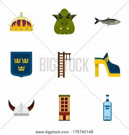 Swedish attractions icons set. Flat illustration of 9 Swedish attractions vector icons for web