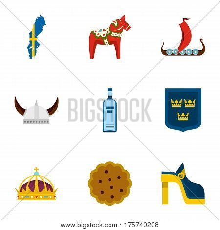 Symbols of Sweden icons set. Flat illustration of 9 symbols of Sweden vector icons for web