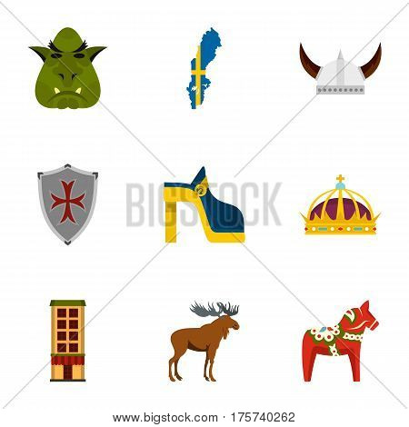 Sweden travel icons set. Flat illustration of 9 Sweden travel vector icons for web