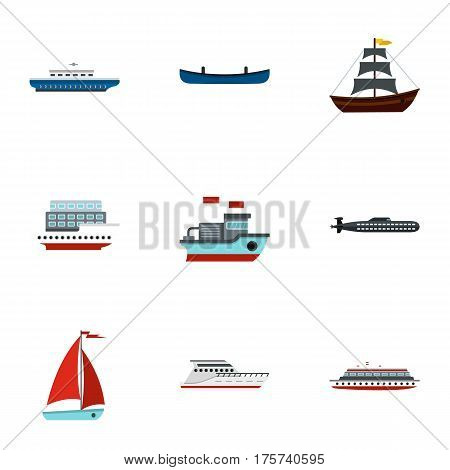 Ship and boat icons set. Flat illustration of 9 ship and boat vector icons for web