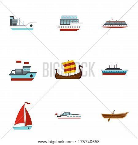 Sailing icons set. Flat illustration of 9 sailing vector icons for web