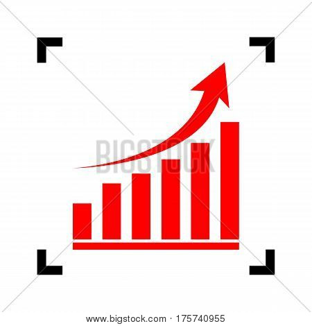 Growing graph sign. Vector. Red icon inside black focus corners on white background. Isolated.