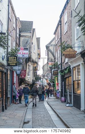 York, England - 4 January 2017 : People Walking On The Street Of The Shambles, Inspiration Of Diagon