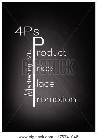 Business Concepts Illustration of Marketing Mix Diagram or 4Ps Model for Management Strategy on Black Chalkboard. A Foundation Concept in Marketing.