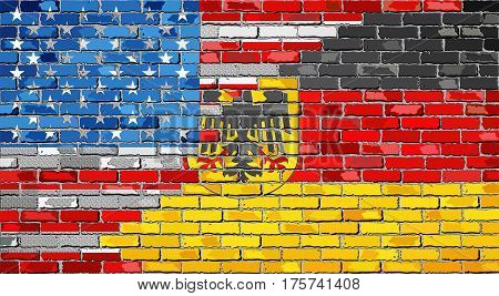 Brick Wall USA and Germany flags with effect