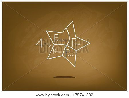 Business Concepts Illustration of Marketing Mix or 4Ps Model for Management Strategy with Star Chart on Brown Chalkboard. A Foundation Concept in Marketing.
