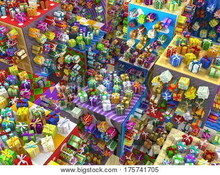 Gift boxes large group 3d illustration surreal scene horizontal