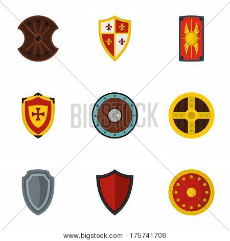 Various knight shield icons set. Flat illustration of 9 various knight shield vector icons for web