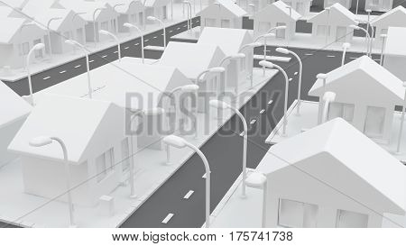 Small white house neighborhood roads 3d illustration horizontal