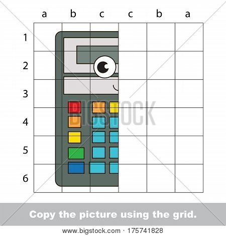 Finish the simmetry picture using grid sells, vector kid educational game for preschool kids, the drawing tutorial with easy game level for half of Funny Grey Calculator