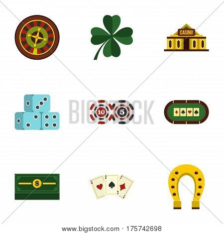 Poker icons set. Flat illustration of 9 poker vector icons for web