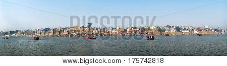 panorama of the waterfront city of Varanasi taken in India
