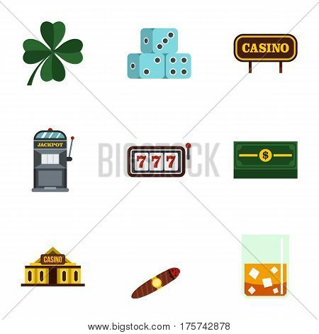 Gambling icons set. Flat illustration of 9 gambling vector icons for web