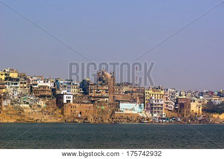 VARANASI INDIA beautiful view on city in the morning on December 2017 in Varanasi.