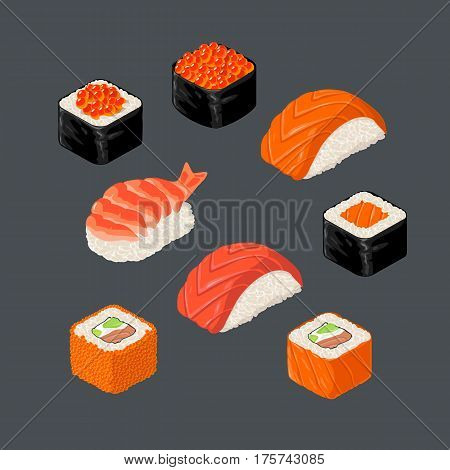 Set Sushi roll and nigiri. Isolated on dark background. Vector flat color illustration. For icon and menu