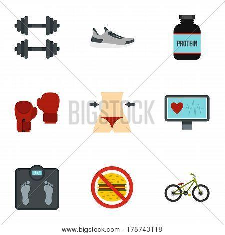 Healthy lifestyle icons set. Flat illustration of 9 healthy lifestyle vector icons for web