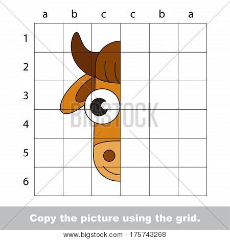 Finish the simmetry picture using grid sells, vector kid educational game for preschool kids, the drawing tutorial with easy game level for half of Cow Head