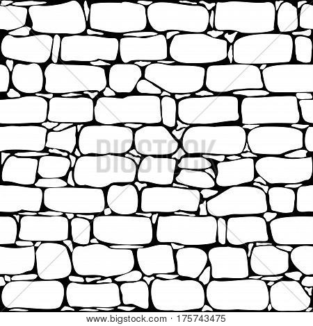 Old brick wall seamless pattern background - vector illustration