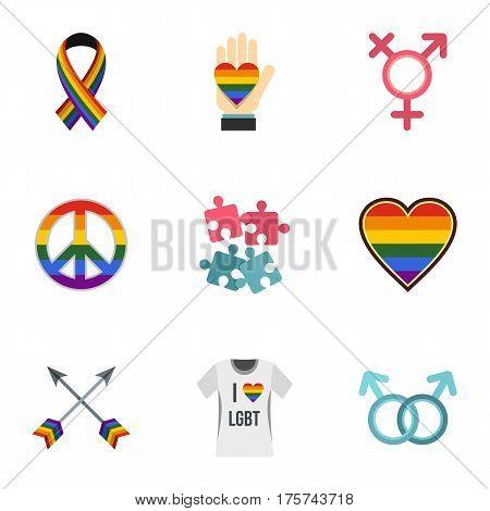 Lgbt symbols icons set. Flat illustration of 9 lgbt symbols vector icons for web