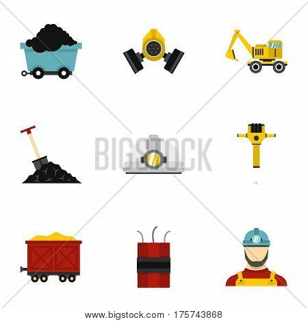 Mining icons set. Flat illustration of 9 mining vector icons for web
