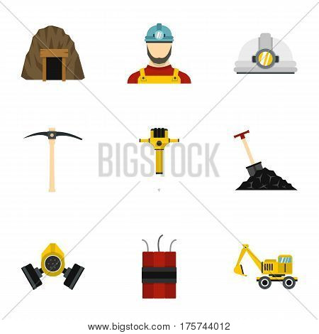 Coal mine icons set. Flat illustration of 9 coal mine vector icons for web