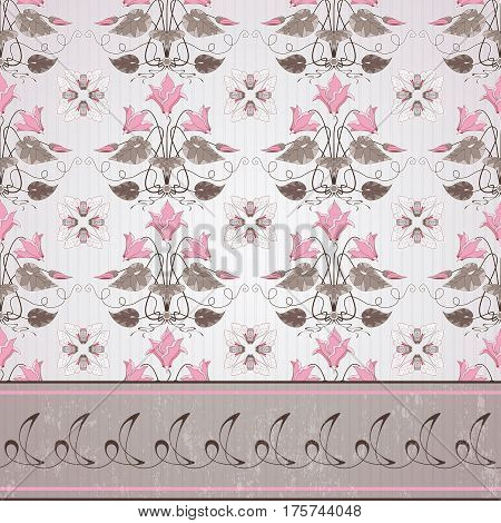 Seamless Vector Background And Border. Vintage Floral Pattern In Modern Style On Background With Str