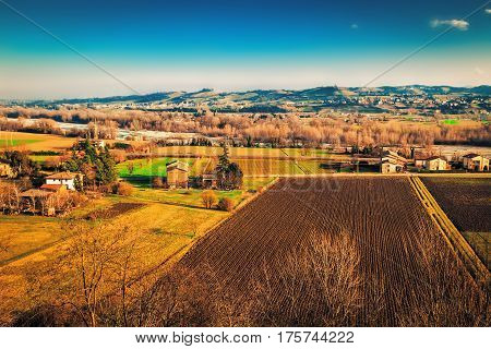 View of many fields and villages in Emilia-Romagna province Italy.