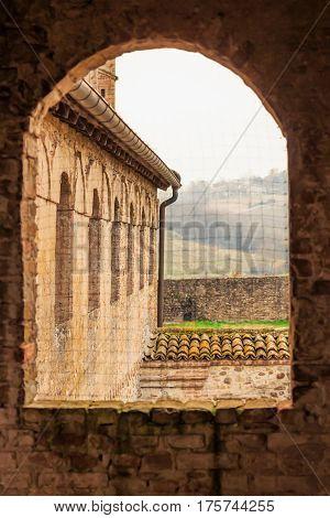 View through the window in Torrechiara castle Emilia-Romagna Italy.