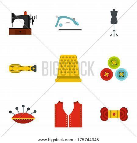 Needlework icons set. Flat illustration of 9 needlework vector icons for web