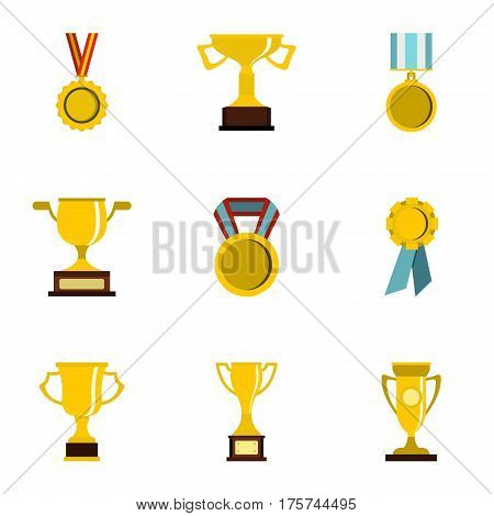 Trophy, medals and award icons set. Flat illustration of 9 trophy, medals and award vector icons for web