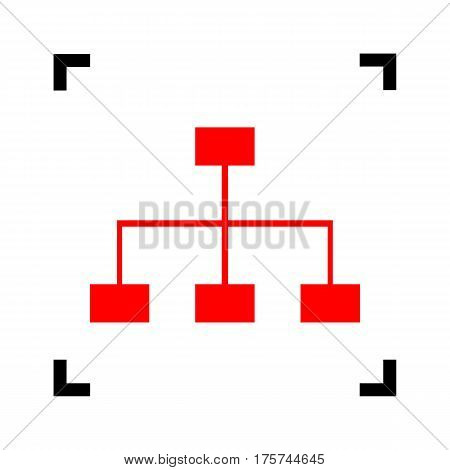 Site map sign. Vector. Red icon inside black focus corners on white background. Isolated.