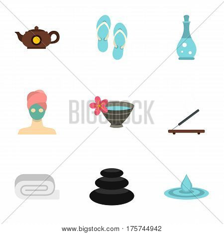 Relaxing therapy icons set. Flat illustration of 9 relaxing therapy vector icons for web