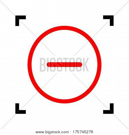 Negative symbol illustration. Minus sign. Vector. Red icon inside black focus corners on white background. Isolated.
