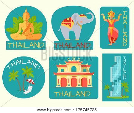 Thailand poster of cards with symbolic signs. Vector illustration of grey elephant, statue of Buddha, palms and sunbed with beach umbrella, modern building and standing statue with inscriptions