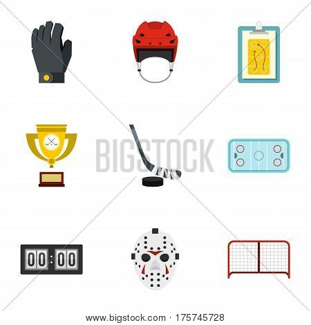 Hockey equipment icons set. Flat illustration of 9 hockey equipment vector icons for web