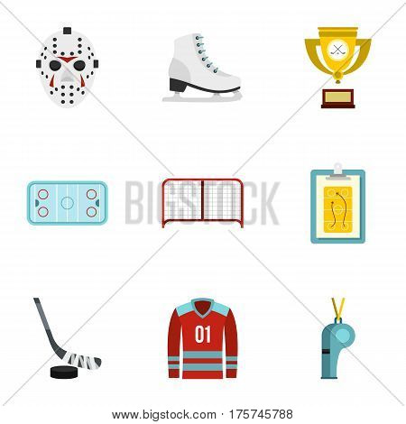 Ice skating icons set. Flat illustration of 9 ice skating vector icons for web