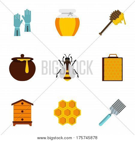Apiculture icons set. Flat illustration of 9 apiculture vector icons for web