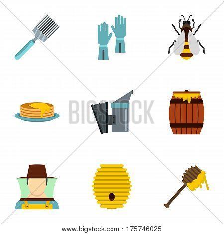 Organic raw honey icons set. Flat illustration of 9 organic raw honey vector icons for web