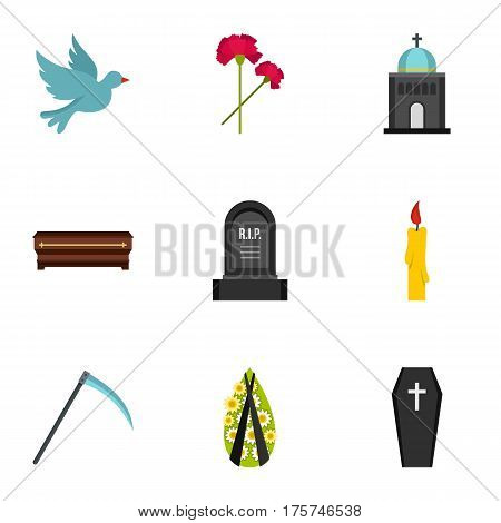 Cemetery icons set. Flat illustration of 9 cemetery vector icons for web