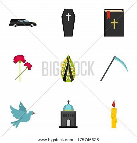 Funeral icons set. Flat illustration of 9 funeral vector icons for web