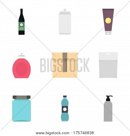 Cardboard, plastic, metal packaging icons set. Flat illustration of 9 cardboard, plastic, metal packaging vector icons for web