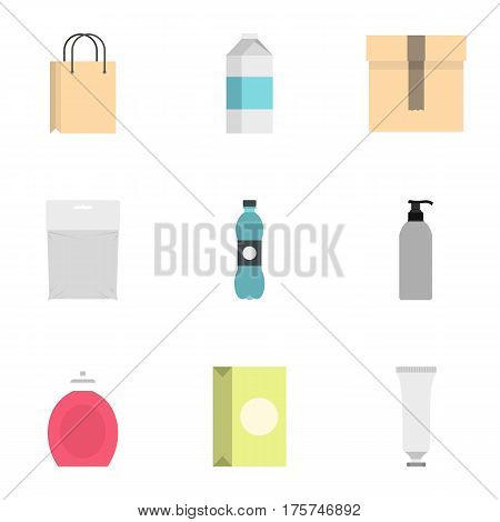 Packing container icons set. Flat illustration of 9 packing container vector icons for web