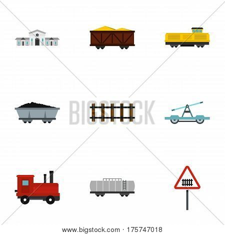 Railroad icons set. Flat illustration of 9 railroad vector icons for web