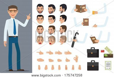 Businessman character generator with various emotions on face, objects in hands and palm gestures. Man in shirt and tie standing with set of body parts and business attributes vector illustration
